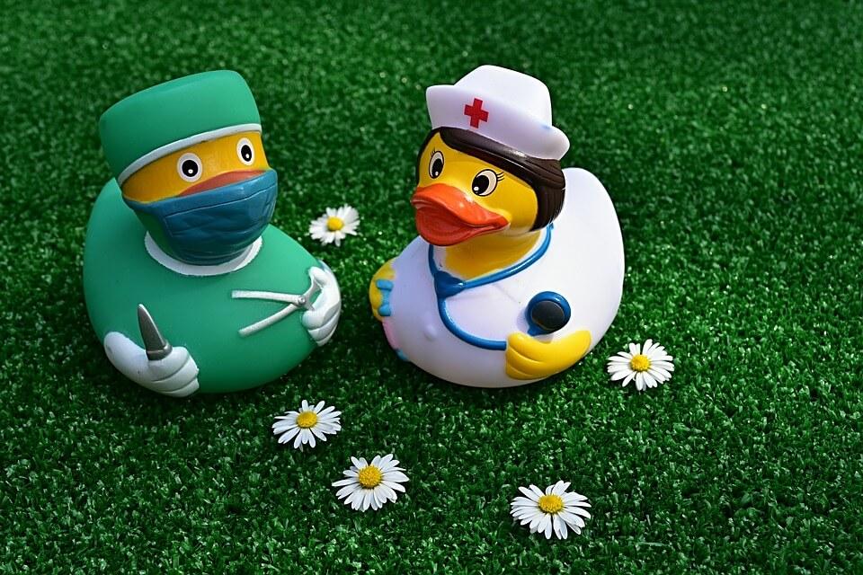 医師と看護師の格好をしたアヒルの置物